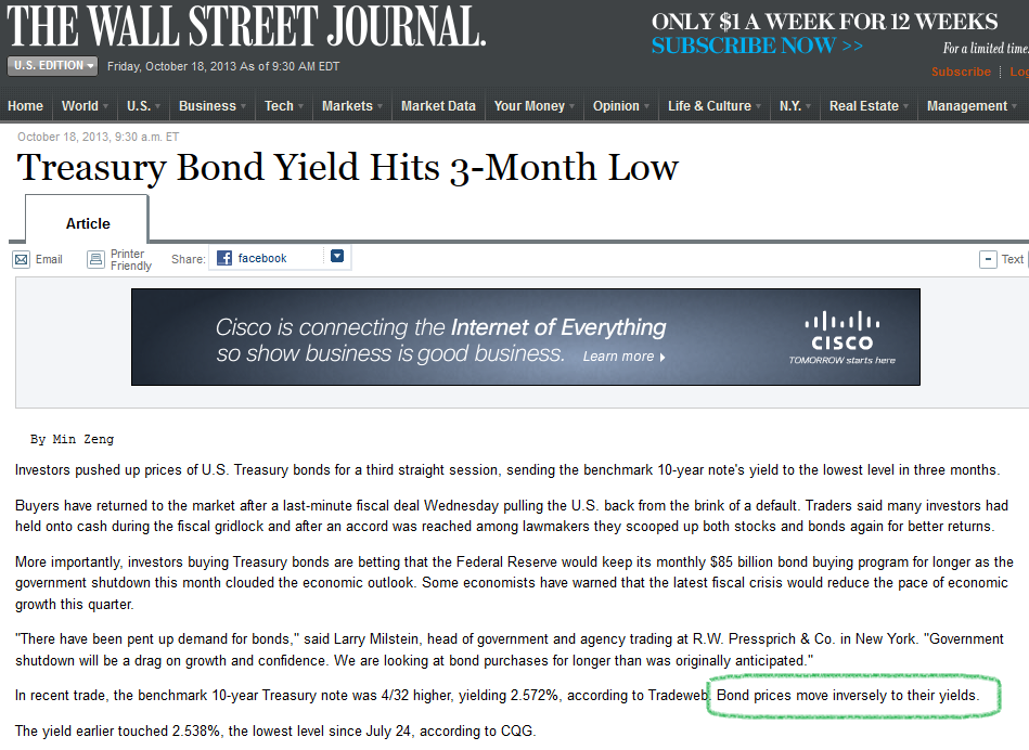 WSJ article bond yield price explination